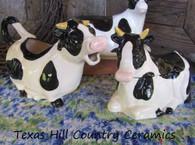 Cow Creamer & Sugar Bowl Set - Black & White Cows Ceramic Pottery
