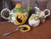 Sunflower Cream Pitcher & Sugar Bowl Set Ceramic Earthenware