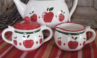 Thrown Pottery Style Ceramic Cream Pitcher & Sugar Bowl Country Apple Motif