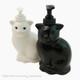 Black or white cat soap dispenser for bath vanity or kitchen counter, made in the USA.