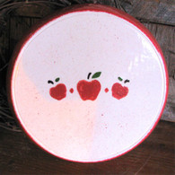 Electric Stove Burner Cover Set of 2 ~ Country Apple Motif in Ruby Red