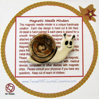 E.S. Cargo the snail is a magnetic needle minder with Neodymium Magnet, ideal as a Sewing Accessory and used by Cross Stitch or Embroidery enthusiast.  This Magnetic Needle Holder Made in the USA