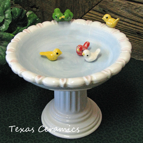Bird Bath Pedestal Bowl Ceramic Soap Dish Ring Or Jewelry