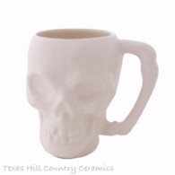 Skull Mug in White Ceramic Glaze, 8 Ounces for Hot or Cold Drinks, Tea or Coffee Mug, Bone Style Handle Ceramic Pottery, Made in the USA