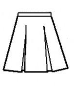 2-Kick Pleat Skirt, Front & Back Half Size-Navy