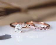 1ct Oval Brilliant Moissanite Engagement Ring Set Solid 14K Rose Gold Ringng
