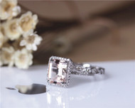 Ring Set 7x9mm Emerald Cut VS Morganite Solid 14K White Gold Ring Set