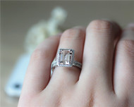 2 Pieces! 7x9mm Emerald Cut VS Morganite Solid 14K White Gold Ring Set