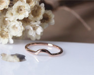 Curve Design Matching Ring Solid 14K Rose Gold Plain Band Wedding Ring