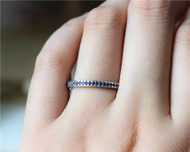 Natural VS Blue Sapphire Wedding Ring Solid 14K White Gold Engagement Band Half Eternity