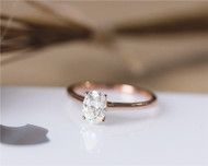 5x7mm Oval Brilliant Moissanite Ring Solid 14K Rose Gold Ring Engagement Ring