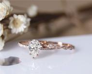 6x9mm Pear Cut Brilliant Moissanite Engagement Ring Set Solid 14K Rose Gold Ring Set