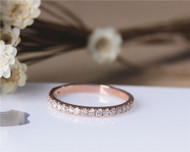 Natural Diamond Wedding Ring Solid 14K Rose Gold Diamond Engagement Band Wedding Band Half Eternity