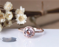 8mm Round Cut Diamond halo VS Morganite Ring  Wedding Ring Stackable Solid 14K Rose Gold Ring