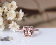 6mm Princess Cut Natural VS Morganite Engagement Ring Solid 14K Rose gold Ring