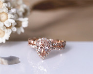 1ct Pear VS Morganite Ring Set 2PCS Engagement Ring Set Solid 14K Rose Gold