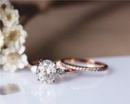 Ring Set! Forever Brilliant 7x9mm Oval Moissanite Ring Set Solid 14K Rose Gold Ring Set