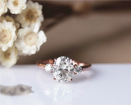 Engagement Ring 2.1ct FB Charles & Colvard Oval Moissanite Engagement Ring Solid 14K Rose Gold