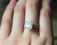 3ct Oval Brilliant Moissanite Engagement Ring Set Solid 14K White Gold Ring Set