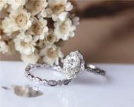 Engagement Ring Set 1.5ct Oval Brilliant Moissanite Ring Set Solid 14K White Gold Ring Set