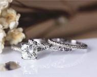 3 PCS 2ct Cushion Brilliant Moissanite Engagement Ring Set Solid 14K White Gold Ring Set
