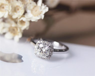 1.1ct Forever Brilliant Cushion Moissanite Engagement Ring Solid 14K White Gold Ring