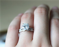 8mm Forever One Round 2ct Moissanite Engagement Ring Set Solid 14K White Gold
