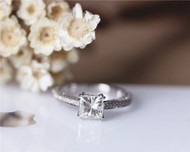5.5mm Princess Cut 1ct Charles and Colvard Brilliant Moissanite Ring Solid 14K White gold Ring