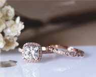 2ctw Cushion Charles & Colvard Brilliant Moissanite Engagement Ring Set Solid 14K Rose Gold