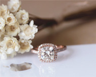 7.5mm Charles & Colvard Cushion Brilliant Moissanite Engagement Ring Solid 14K Rose Gold