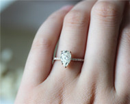 1.5ct Pear Cut Brilliant Moissanite Ring Solid 14K Rose Gold Moissanite Engagement Ring