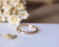 Marquise Style Solid 14K Yellow Gold Natural Diamond Wedding Band Half Eternity