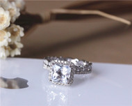 Natural White Topaz Ring Set! Princess Cut Topaz Ring Set Solid 14K White Gold Ring Set