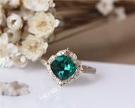 May Birthstone Ring! Gift! 7mm Cushion Emerald Ring Solid 14K Yellow Gold Wedding Ring