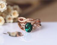 Unique 6x8mm Oval Emerald Ring Set Solid 14K Rose Gold Emerald Engagement Ring Set