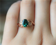 Unique 6x8mm Oval Emerald Ring Solid 14K Rose Gold Emerald Engagement Ring
