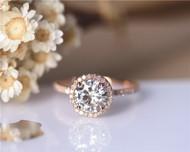 8mm 2ct Round Charles & Colvard Brilliant Moissanite Ring Solid 14K Rose Gold Wedding Ring