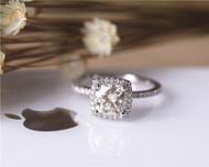 Charles and Colvard Brilliant Moissanite Ring Cushion Moissanite Engagement Ring Solid 14K White Gold