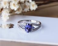 Natural 6x8mm Oval Tanzanite Ring Solid 14K White Gold Tanzanite Engagement Ring