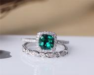 Cushion Treated Emerald Ring Set Solid 14K White Gold Emerald Engagement Ring Set