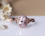 Pink Morganite Ring 6x8mm Solid 14K Rose Gold Oval Morganite Engagement Ring Wedding Ring