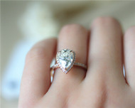 7*10.5mm Charles & Colvard Pear Moissanite Ring Solid 14K Rose Gold Moissanite Engagement Ring