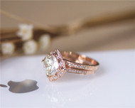 1.7ct Cushion Charles & Colvard Brilliant Moissanite Ring Set Solid 14K Rose Gold Ring Set