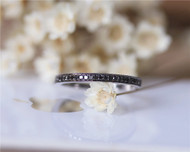Unique Black Diamond Solid 14K White Gold Milgrain Diamond Engagement Band Diamond Wedding