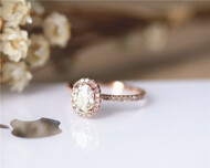 1ct Charles&Colvard Oval Brilliant Moissanite Engagement Ring Solid 14K Rose Gold Moissanite Ring