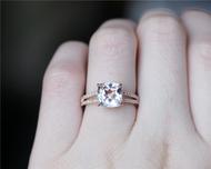 8mm Cushion Cut Morganite Ring Solid 14K Rose Gold Morganite Engagement Ring Wedding Ring
