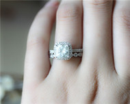7.5mm Cushion Charles & Colvard Brilliant Moissanite Engagement Ring Set Solid 14K White Gold Ring Set
