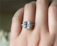 8mm Cushion Cut Natural VS Morganite Ring Solid 14K White Gold Morganite Engagement Ring