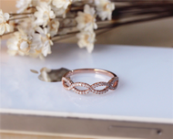 Half Eternity Natural Diamond Band Solid 14K Rose Gold Diamond Engagement Wedding Band