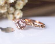 7mm Pink Morgannite Ring Set VS Morganite Ring Diamonds Ring Set Wedding Ring Solid 14K Rose Gold